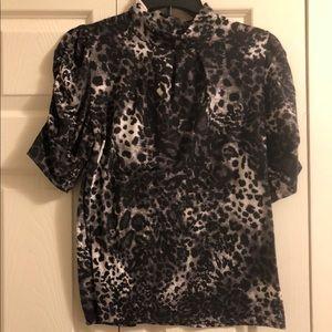 NWOT Leopard Print Ruched Sleeve Mock Neck Top